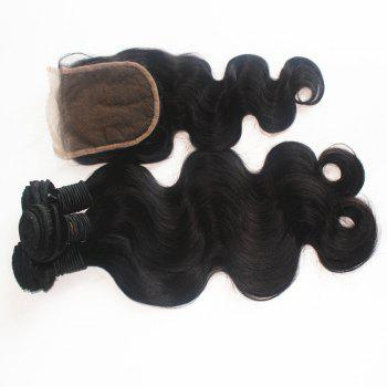 Body Wave Brazilian Human Virgin Hair Weave 4pcs with One Piece Lace Closure - NATURAL COLOR 14INCH*16INCH*18INCH*20INCH*CLOSURE 14INCH