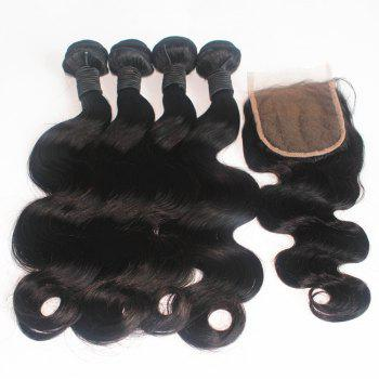 Body Wave Peruvian Human Virgin Hair Weave 200g with One Piece 4 inch x 4 inch Lace Closure - NATURAL COLOR 16INCH*16INCH*CLOSURE 14INCH