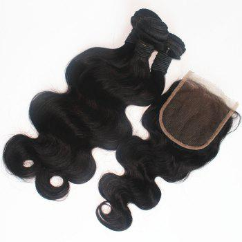 Body Wave Peruvian Human Virgin Hair Weave 200g with One Piece 4 inch x 4 inch Lace Closure - NATURAL COLOR 16INCH*18INCH*CLOSURE 14INCH