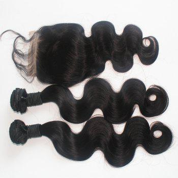 Body Wave Peruvian Human Virgin Hair Weave 200g with One Piece 4 inch x 4 inch Lace Closure - NATURAL COLOR NATURAL COLOR