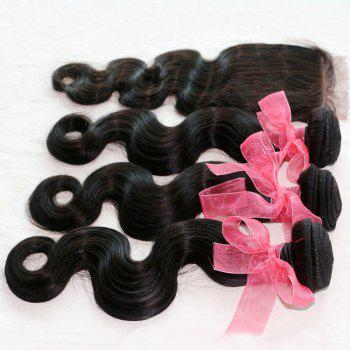 Body Wave Indian Human Virgin Hair Weave 4pcs with One Piece Lace Closure - NATURAL COLOR 16INCH*18INCH*20INCH*22INCH*CLOSURE 16INCH