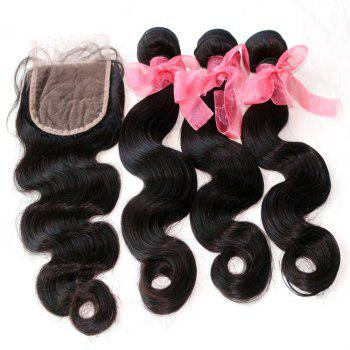 Body Wave Indian Human Virgin Hair Weave 4pcs with One Piece Lace Closure - NATURAL COLOR 18INCH*20INCH*22INCH*24INCH*CLOSURE 18INCH