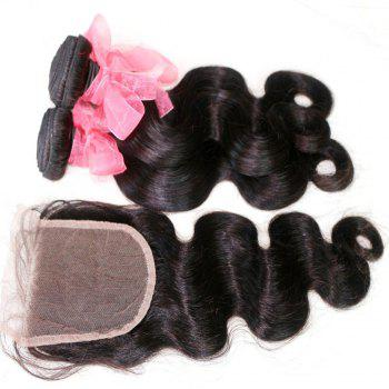 Body Wave Indian Human Virgin Hair Weave 4pcs with One Piece Lace Closure - NATURAL COLOR 14INCH*16INCH*18INCH*20INCH*CLOSURE 12INCH