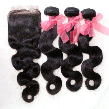 Body Wave 100 Percent Indian Human Virgin Hair Weave 3pcs with One Piece Lace Closure - NATURAL COLOR 12INCH*14INCH*16INCH*CLOSURE 10INCH