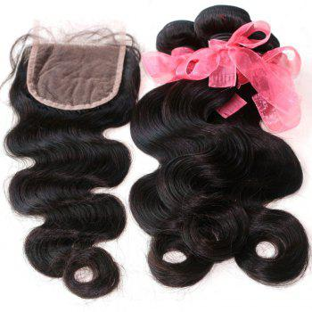 Body Wave 100 Percent Indian Human Virgin Hair Weave 3pcs with One Piece Lace Closure - NATURAL COLOR 14INCH*16INCH*18INCH*CLOSURE 12INCH