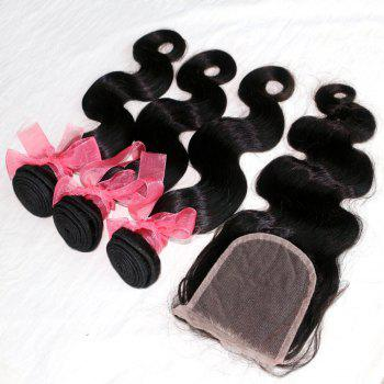 Body Wave 100 Percent Indian Human Virgin Hair Weave 3pcs with One Piece Lace Closure - NATURAL COLOR 16INCH*16INCH*16INCH*CLOSURE 14INCH