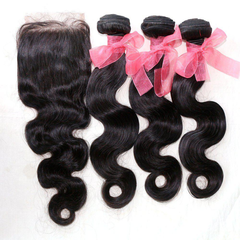 Body Wave 100 Percent Indian Human Virgin Hair Weave 3pcs with One Piece Lace Closure - NATURAL COLOR 18INCH*20INCH*22INCH*CLOSURE 16INCH
