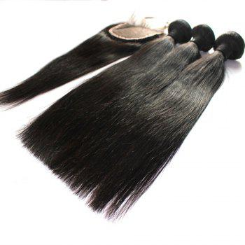 Straight 100 Percent Indian Human Virgin Hair Weave 3pcs with 1pc Lace Closure - NATURAL COLOR 12INCH*12INCH*12INCH*CLOSURE 10INCH