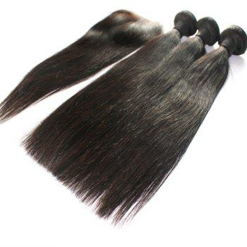 Straight 100 Percent Indian Human Virgin Hair Weave 3pcs with 1pc Lace Closure - NATURAL COLOR 12INCH*14INCH*16INCH*CLOSURE 10INCH