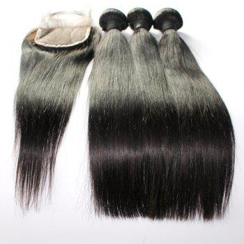 Straight 100 Percent Indian Human Virgin Hair Weave 3pcs with 1pc Lace Closure - NATURAL COLOR 14INCH*16INCH*18INCH*CLOSURE 12INCH