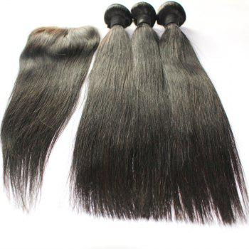 Straight 100 Percent Indian Human Virgin Hair Weave 3pcs with 1pc Lace Closure - NATURAL COLOR NATURAL COLOR