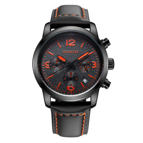 OCHSTIN GQ047A Military Men Analog Leather Quartz Watch - BLACK/RED