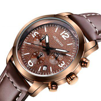 OCHSTIN GQ047A Military Men Analog Leather Quartz Watch - COFFEE