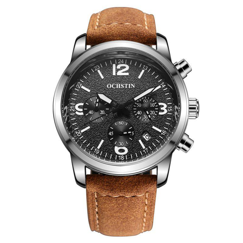 OCHSTIN GQ047A Military Men Analog Leather Quartz Watch - BROWN