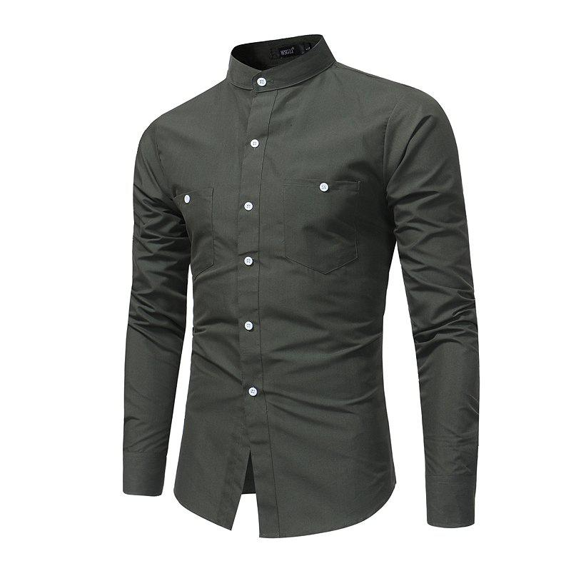 Long Sleeved Collar Youth Fashion Slim Shirt - ARMYGREEN L