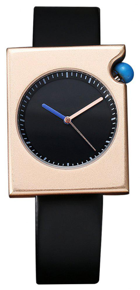 TOMI T002 Unisex Fashion Leather Strap Rectangle Case Wrist Watch with Box - BLACK/ROSE