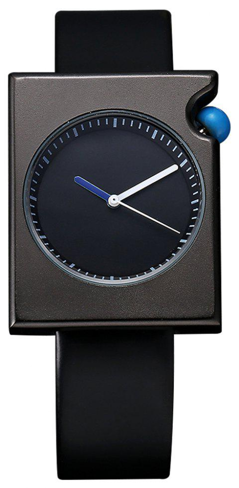 TOMI T002 Unisex Fashion Leather Strap Rectangle Case Wrist Watch with Box - BLACK