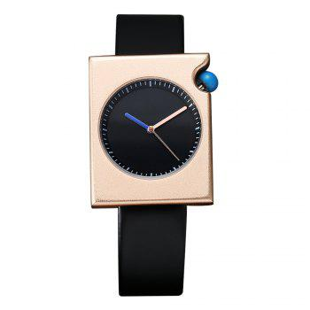 T002 Unisex Fashion Leather Strap Rectangle Case Wrist Watch with Box - BLACK AND ROSE BLACK/ROSE