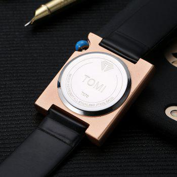 T002 Unisex Fashion Leather Strap Rectangle Case Wrist Watch with Box -  BLACK/ROSE