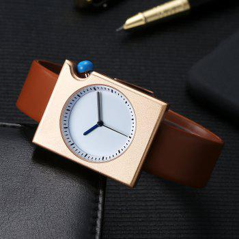 T002 Unisex Fashion Leather Strap Rectangle Case Wrist Watch with Box - ROSE GOLD/BROWN