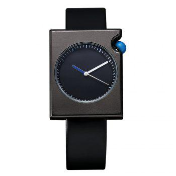 T002 Unisex Fashion Leather Strap Rectangle Case Wrist Watch with Box - BLACK BLACK
