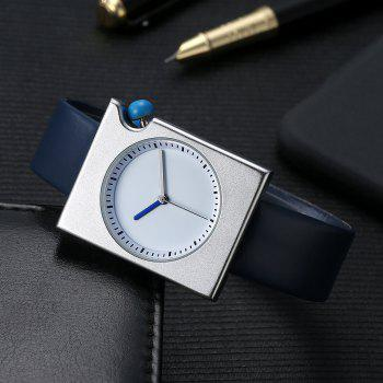 TOMI T002 Unisex Fashion Leather Strap Rectangle Case Wrist Watch with Box - SILVER/BLUE