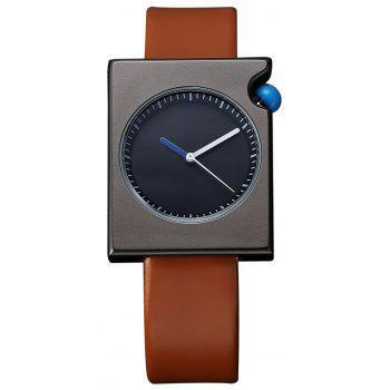 TOMI T002 Unisex Fashion Leather Strap Rectangle Case Wrist Watch with Box - BLACK AND BROWN BLACK/BROWN