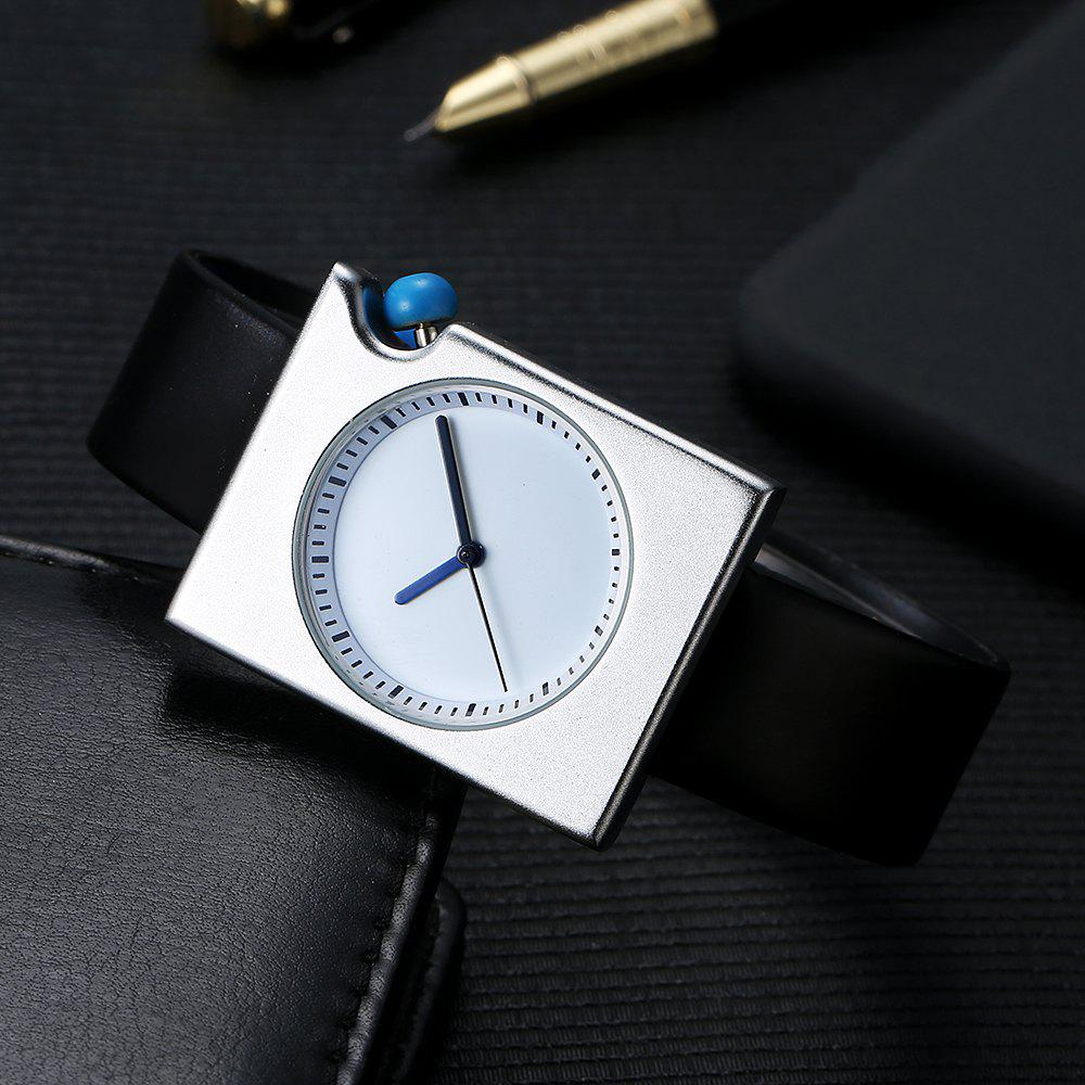 T002 Unisex Fashion Leather Strap Rectangle Case Wrist Watch with Box - SILVER/BLACK