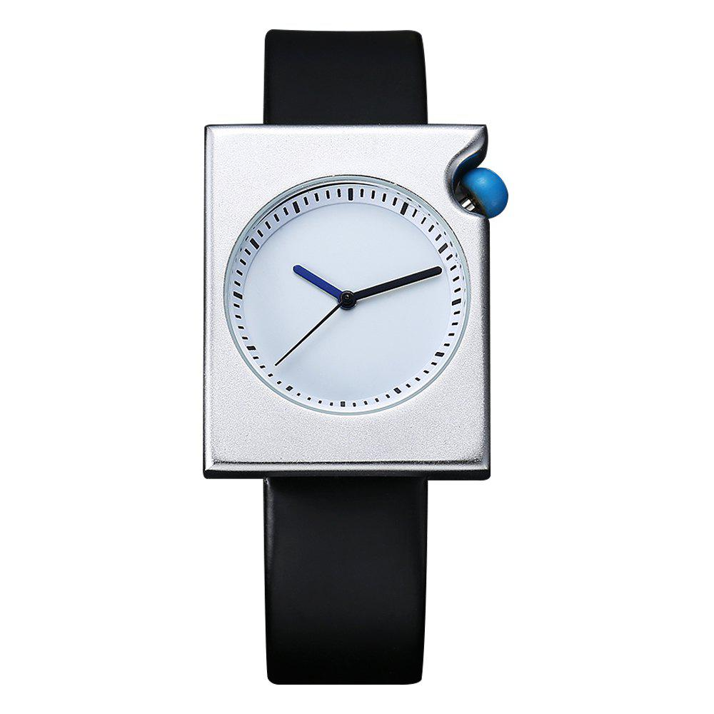 TOMI T002 Unisex Fashion Leather Strap Rectangle Case Wrist Watch with Box - SILVER/BLACK