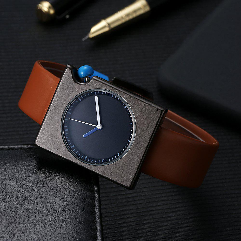 T002 Unisex Fashion Leather Strap Rectangle Case Wrist Watch with Box - BLACK/BROWN