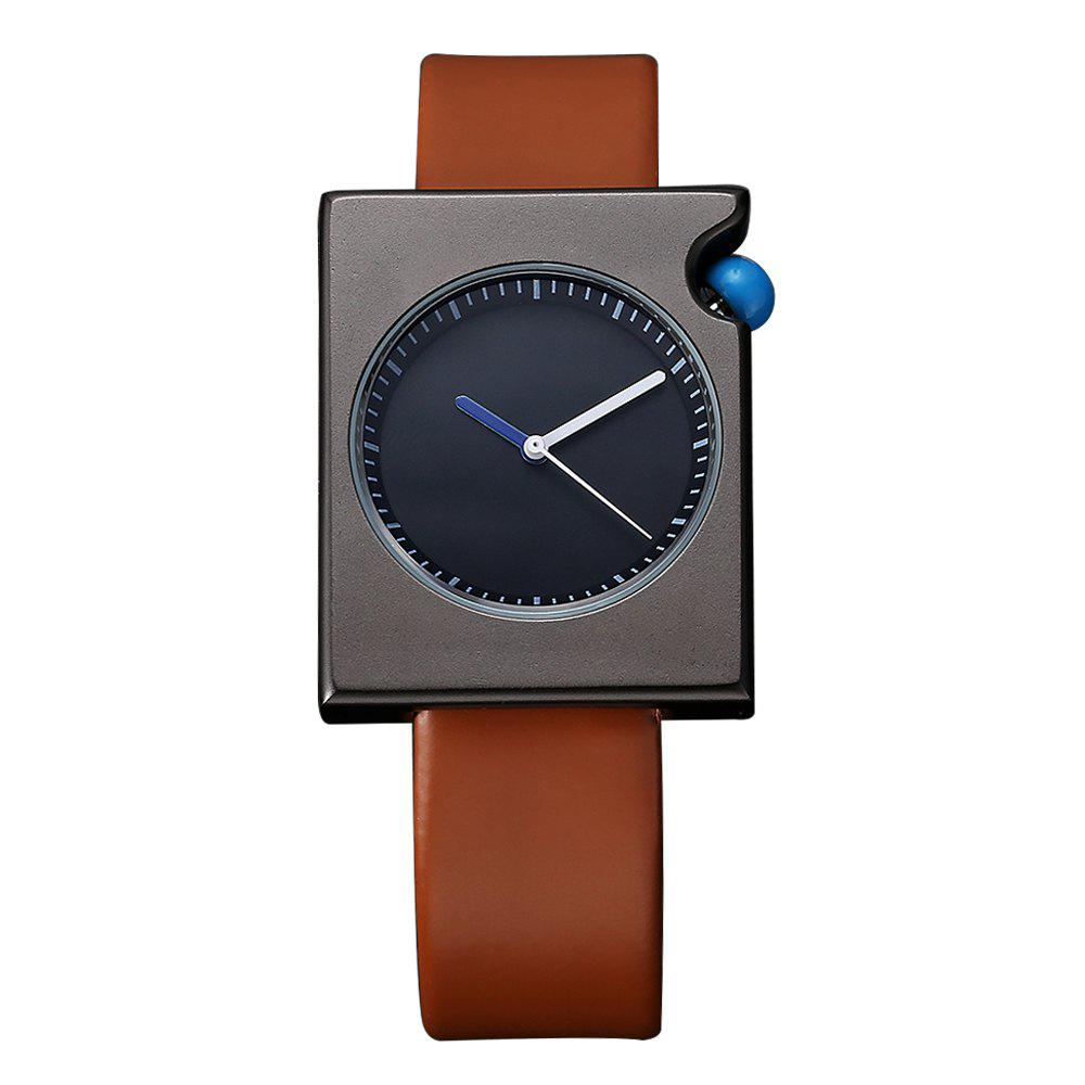 TOMI T002 Unisex Fashion Leather Strap Rectangle Case Wrist Watch with Box - BLACK/BROWN