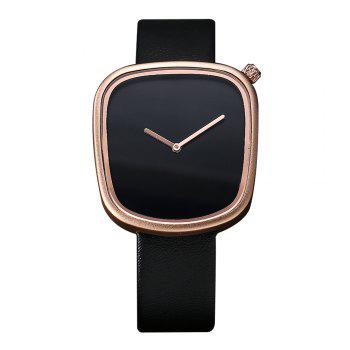 T003 Unisex Unique Leather Band Quartz Watches with Box - BLACK AND ROSE GOLD BLACK/ROSE GOLD