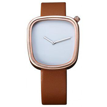 TOMI T003 Unisex Unique Leather Band Quartz Watches with Box - ROSE GOLD AND BROWN ROSE GOLD/BROWN