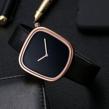 TOMI T003 Unisex Unique Leather Band Quartz Watches with Box - BLACK/ROSE GOLD