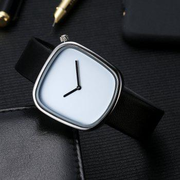 TOMI T003 Unisex Unique Leather Band Quartz Watches with Box - SILVER/BLACK