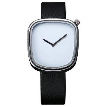 TOMI T003 Unisex Unique Leather Band Quartz Watches with Box - SILVER AND BLACK SILVER/BLACK