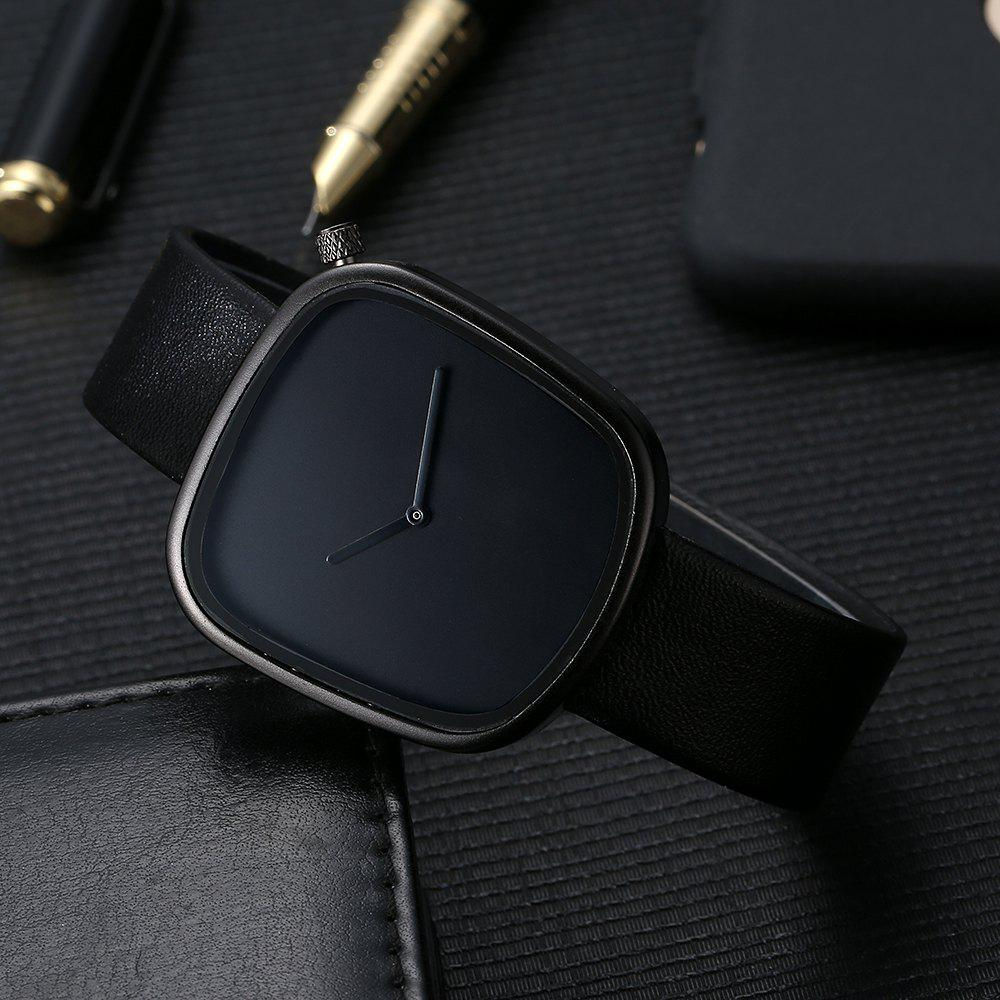 T003 Unisex Unique Leather Band Quartz Watches with Box - BLACK