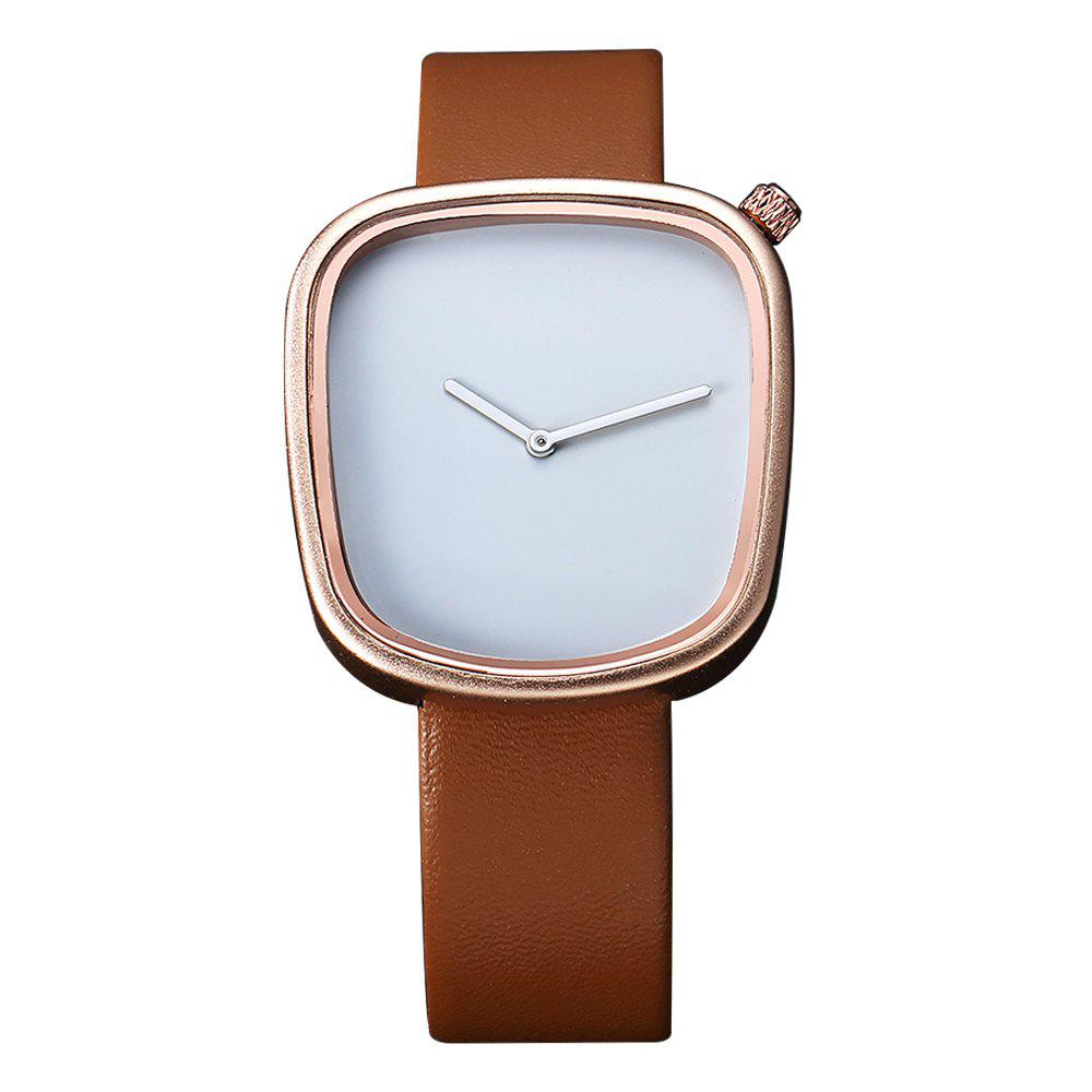 T003 Unisex Unique Leather Band Quartz Watches with Box - ROSE GOLD/BROWN