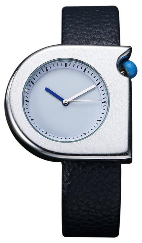 TOMI T005 Unisex Fashion Leather Strap Wrist Watches with Box - SILVER/BLUE