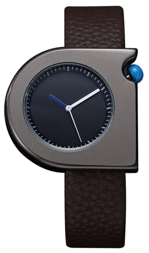 TOMI T005 Unisex Fashion Leather Strap Wrist Watches with Box - BLACK/BROWN