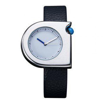 T005 Unisex Fashion Leather Strap Wrist Watches with Box - SILVER AND BLUE SILVER/BLUE
