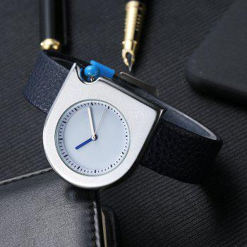 T005 Unisex Fashion Leather Strap Wrist Watches with Box -  SILVER/BLUE