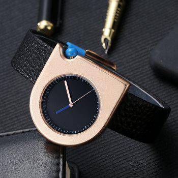T005 Unisex Fashion Leather Strap Wrist Watches with Box - BLACK/ROSE GOLD