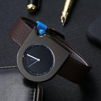 T005 Unisex Fashion Leather Strap Wrist Watches with Box - BLACK/BROWN
