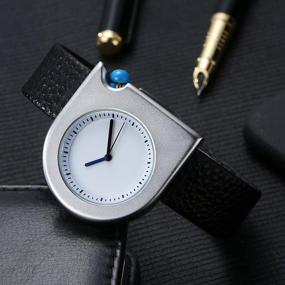 T005 Unisex Fashion Leather Strap Wrist Watches with Box - SILVER/BLACK