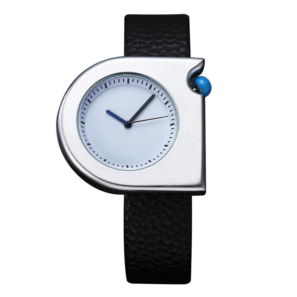 TOMI T005 Unisex Fashion Leather Strap Wrist Watches with Box - SILVER/BLACK