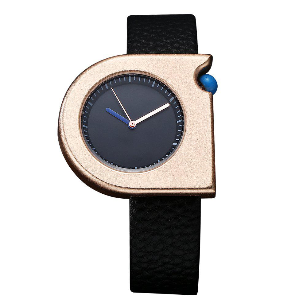 TOMI T005 Unisex Fashion Leather Strap Wrist Watches with Box - BLACK/ROSE GOLD