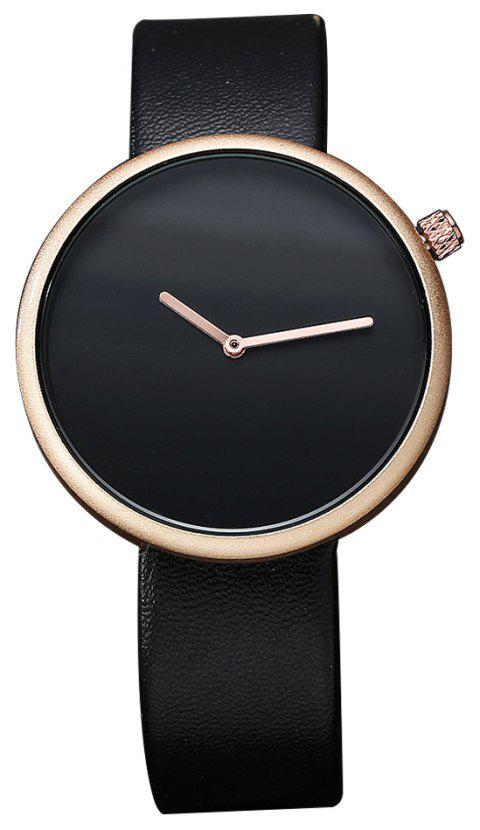 TOMI T006 Men Casual Soft Leather Band Quartz Watches with Box - BLACK/ROSE GOLD