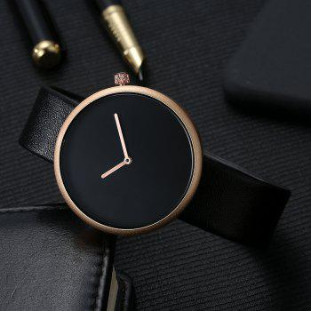 T006 Men Casual Soft Leather Band Quartz Watches with Box - BLACK/ROSE GOLD