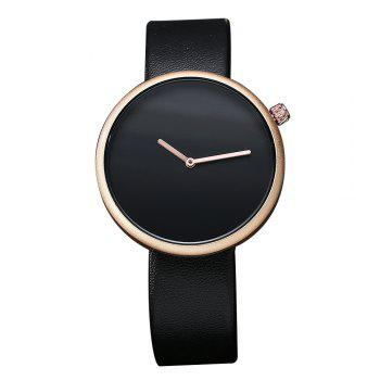 T006 Men Casual Soft Leather Band Quartz Watches with Box - BLACK AND ROSE GOLD BLACK/ROSE GOLD